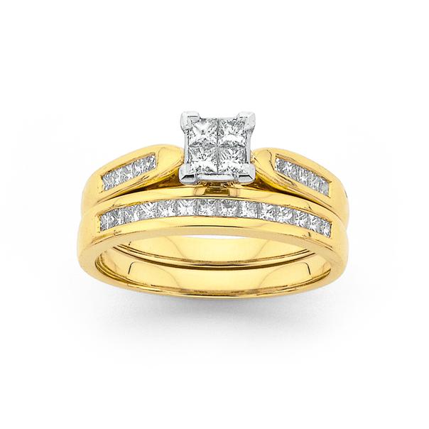 18ct Gold Diamond Bridal Ring Set