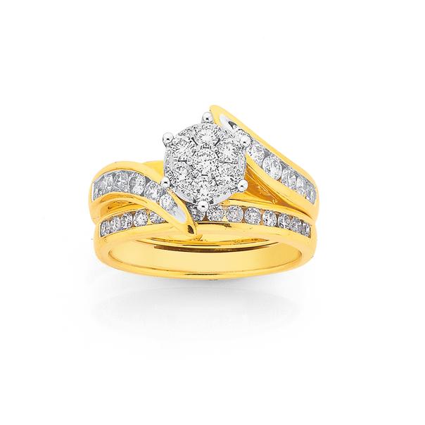 18ct Gold Diamond Cluster Bridal Set