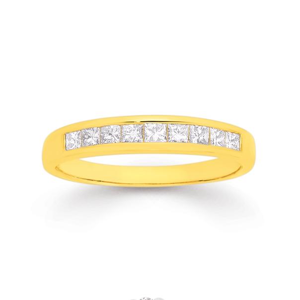 18ct Gold Diamond Princess Cut Band