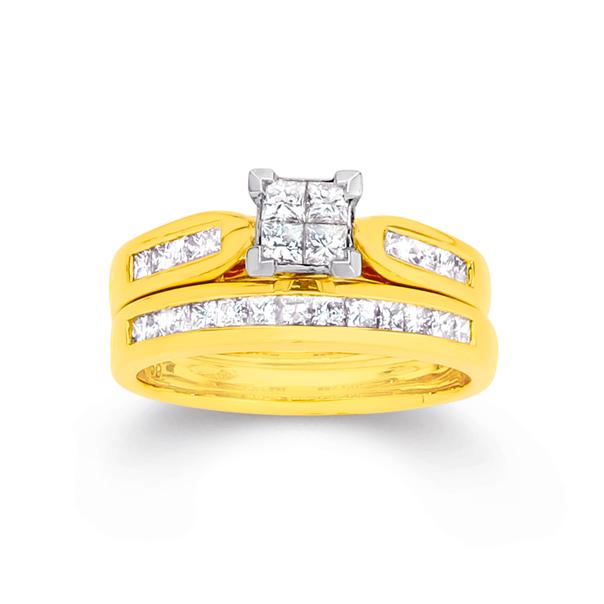 18ct Gold Diamond Princess Cut Invisible Set Bridal Ring Set