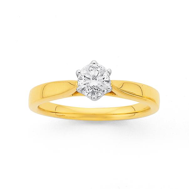 18ct Gold Round Brilliant Cut 1/2 Carat Diamond Solitaire Ring