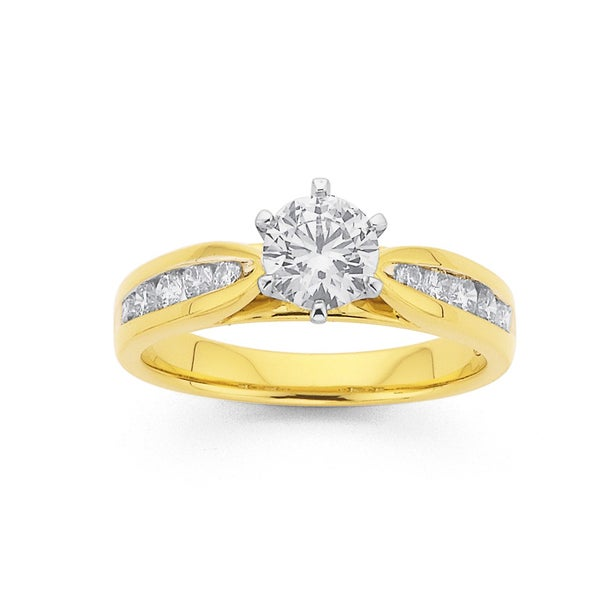 18ct Gold Round Brilliant Cut Diamond Engagement Ring with Shoulder Stones