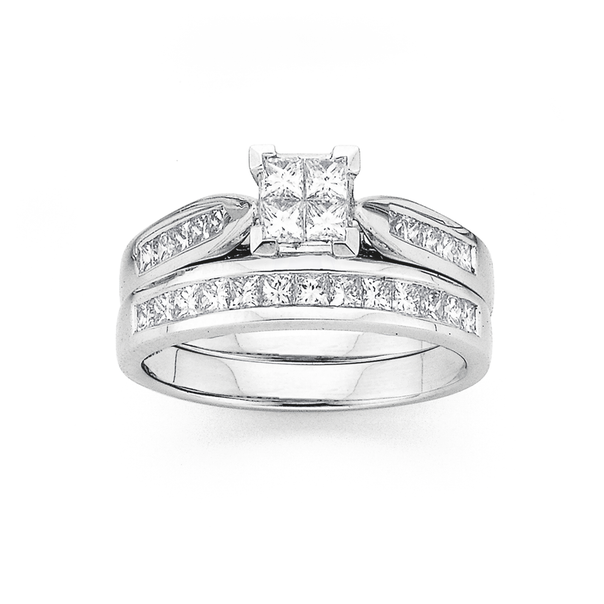 18ct White Gold Diamond Bridal Ring Set