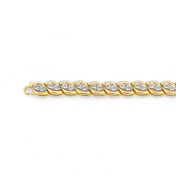 9ct 19cm Diamond Bracelet Weight=.20ct