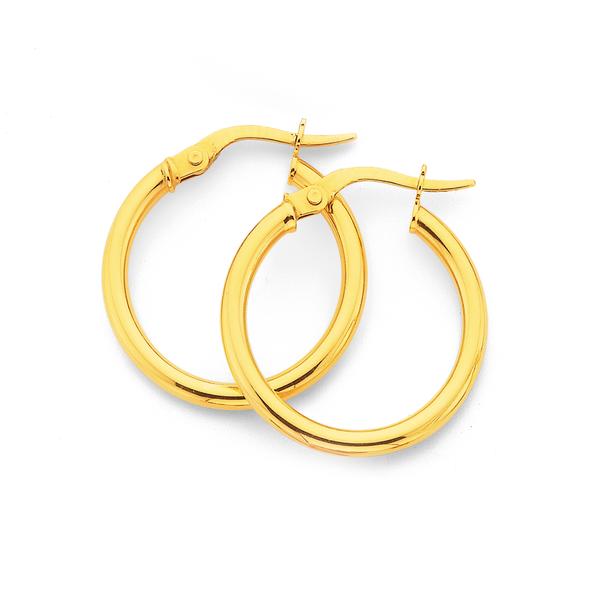 9ct  2x19mm Hoop Earrings