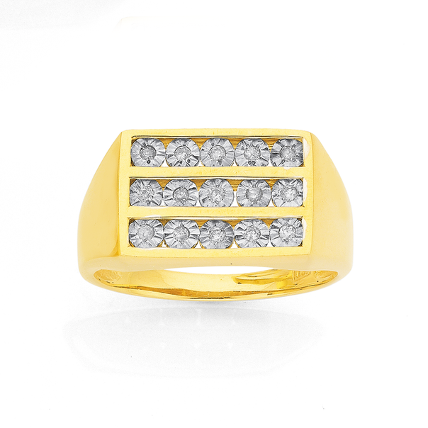 9ct 3 Row Diamond Set Gents Ring