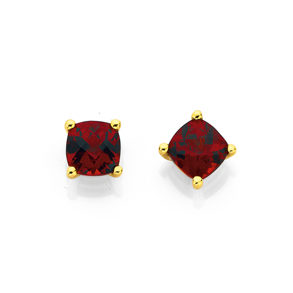 9ct 5mm Garnet Stud Earrings