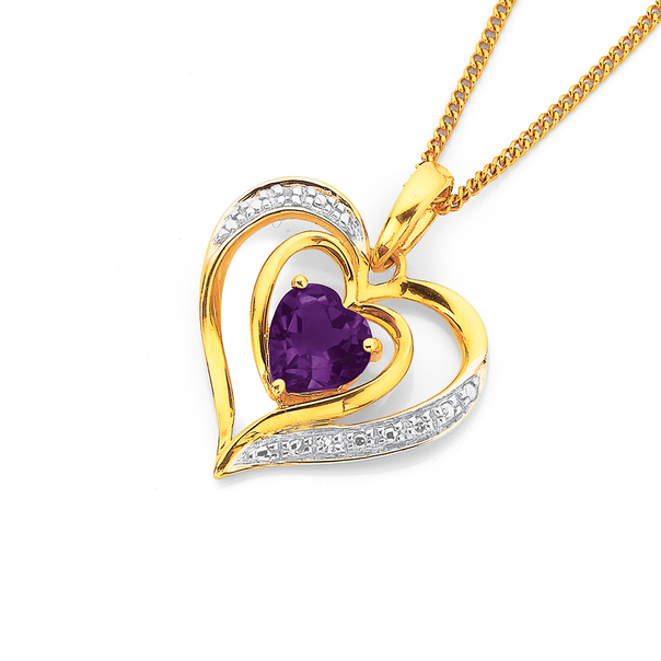 9ct Amethyst Diamond Heart Pendant
