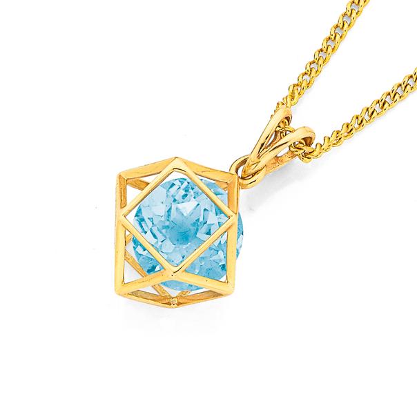 9ct Blue Topaz Prism Pendant