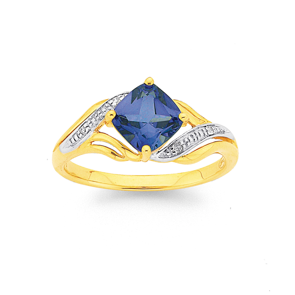 9ct Created Ceylon Sapphire and Diamond Swirl Ring
