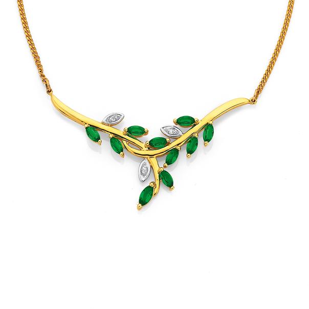 9ct Created Emerald & Diamond Leaves Spray Necklet