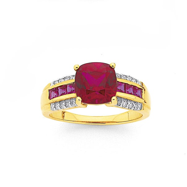 9ct Created Ruby and Diamond Ring