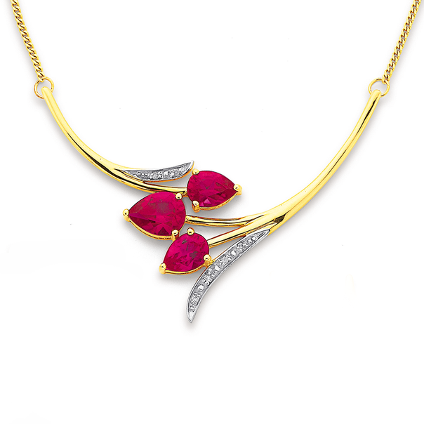 9ct Created Ruby and Diamond Tulip Necklet