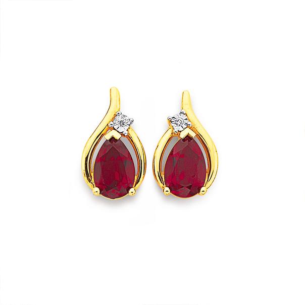 9ct Created Ruby & Diamond Earrings