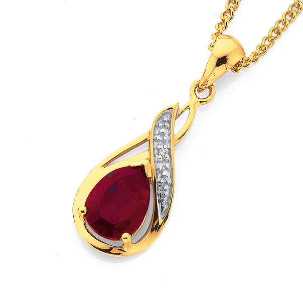 9ct Created Ruby & Diamond Pear Swirl Drop Pendant