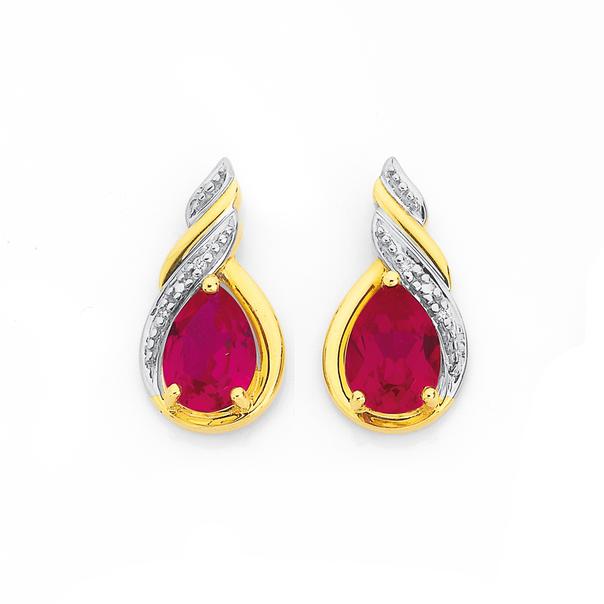 9ct Created Ruby & Diamond Swirl Drop Stud Earrings