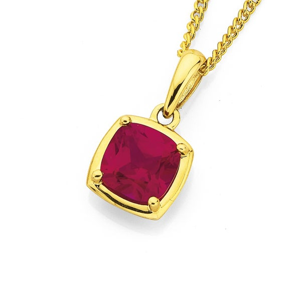 9ct Created Ruby Pendant