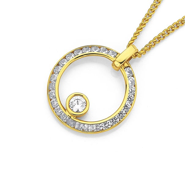 9ct Cubic Zirconia Floating in a Circle Pendant