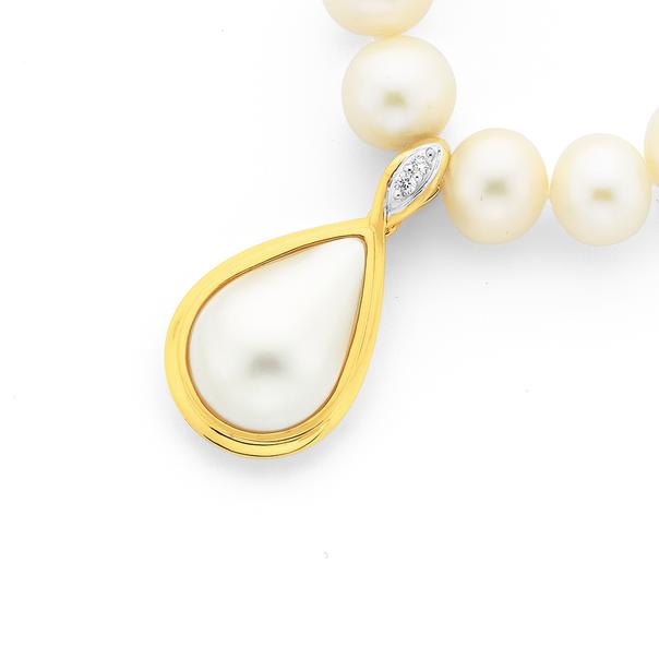 9ct Cultured Mabe Pearl & Diamond Enhancer Pendant