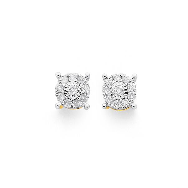 9ct, Diamond Amazing Look Stud Earrings