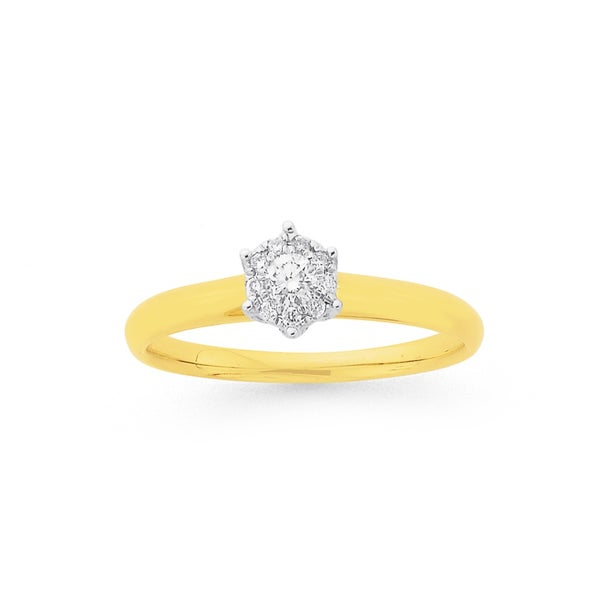 9ct, Diamond Cluster Engagement Ring