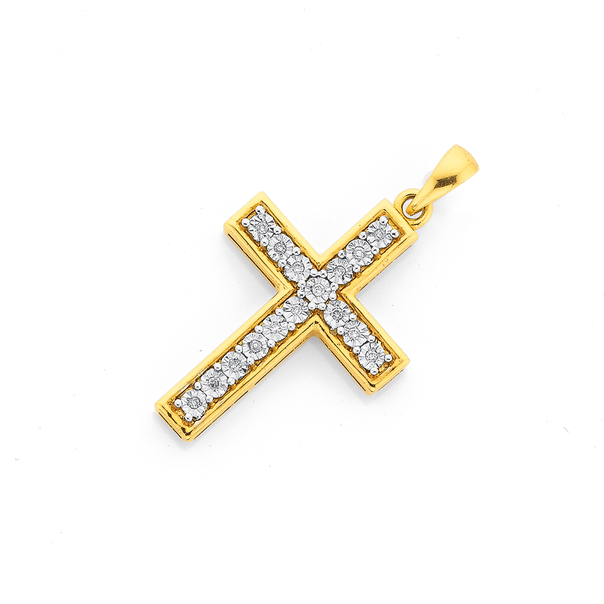 9ct, Diamond Cross Pendant
