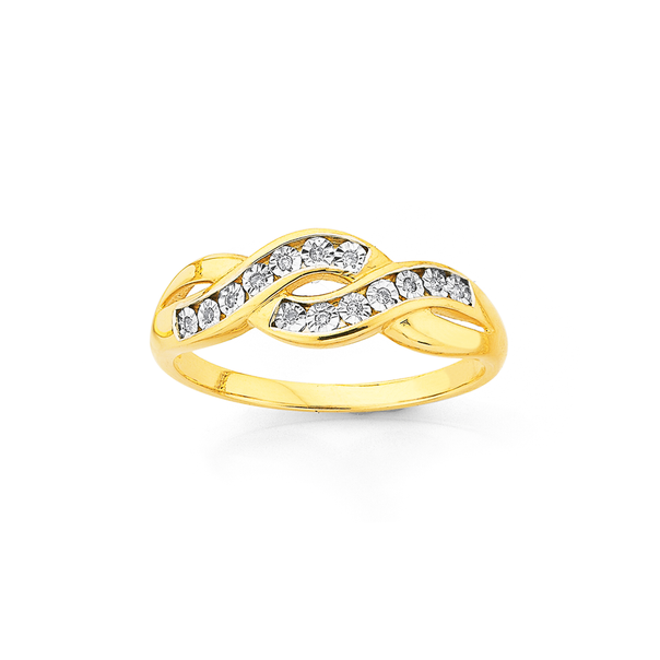 9ct, Diamond Crossover Ring