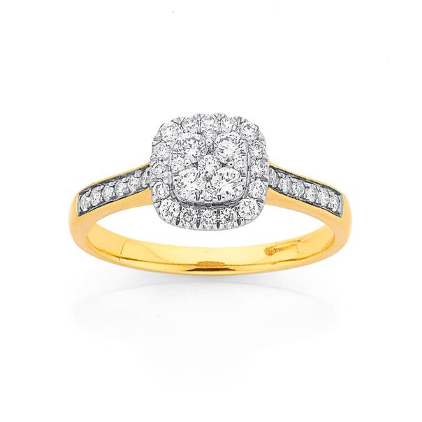 9ct Diamond Cushion Shape Cluster Ring