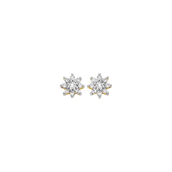 9ct, Diamond Flower Stud Earrings