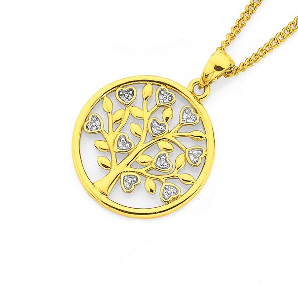 9ct, Diamond Heart Tree of Life Circle Pendant