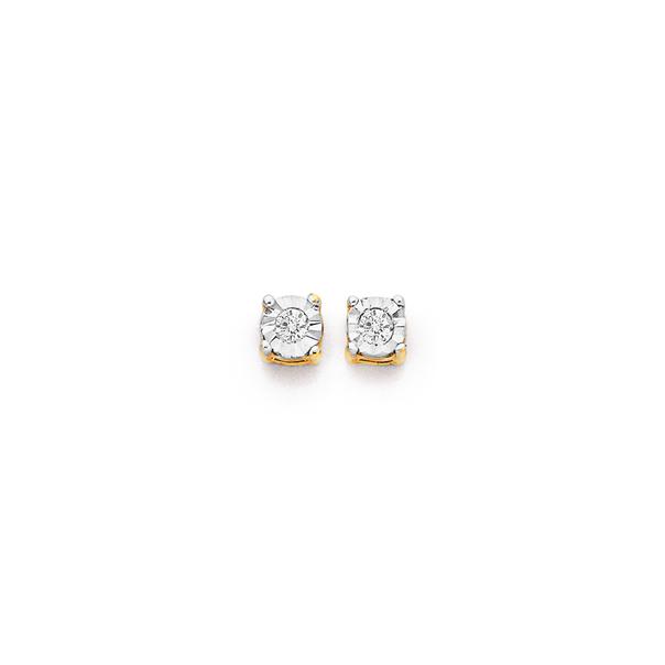 9ct Diamond Miracle Set Stud Earrings TDW=.10ct