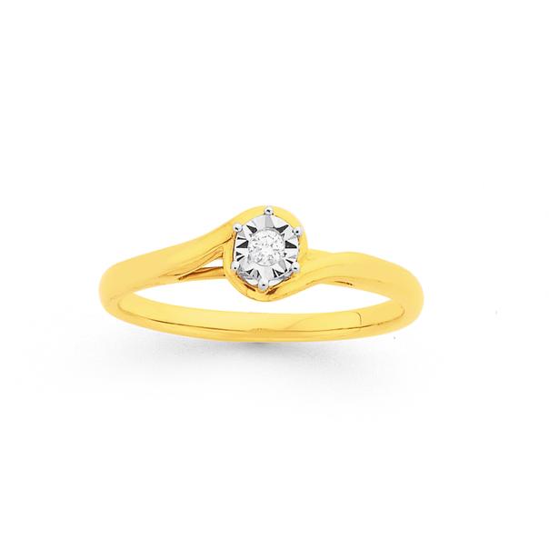 9ct, Diamond Solitaire Ring