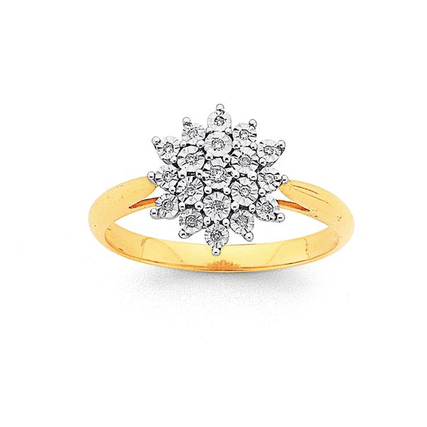 9ct, Diamond Starburst Cluster Ring