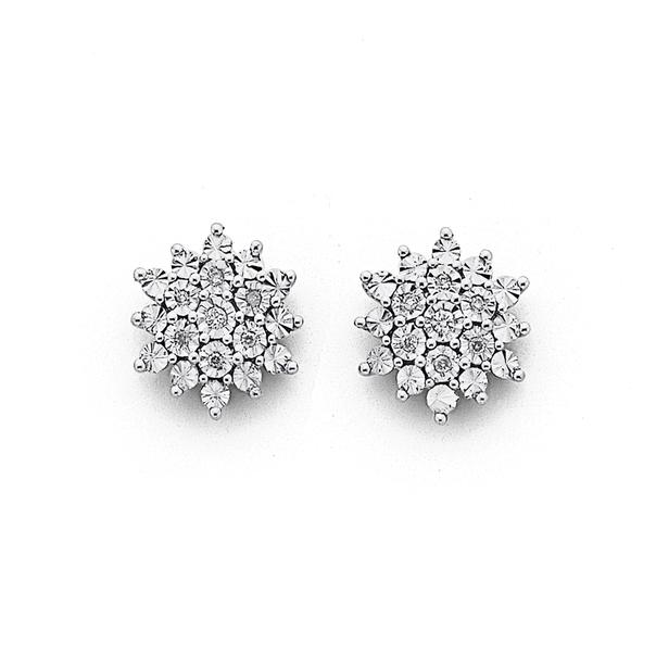 9ct, Diamond Starburst Cluster Stud Earrings