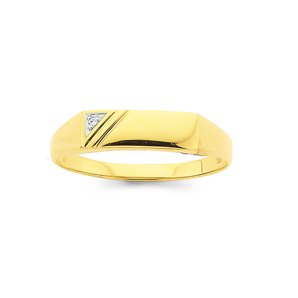 9ct, Diamond Striped Signet Gents Ring