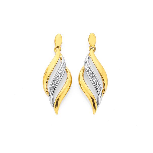 9ct, Diamond Swirl Drop Stud Earrings