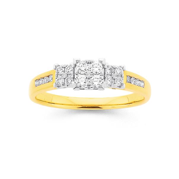 9ct Diamond Trilogy Ring TDW=.35ct