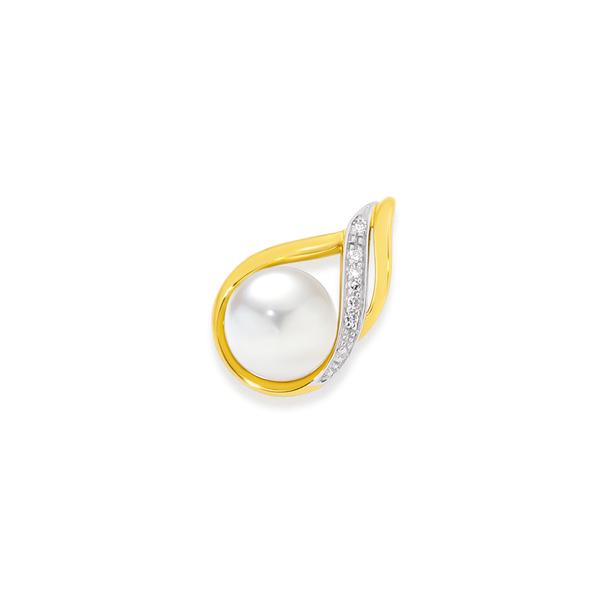9ct Freshwater Pearl & Diamond Pendant