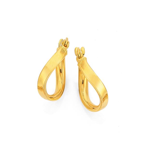9ct Gold 10mm Flat Wave Hoop Earrings