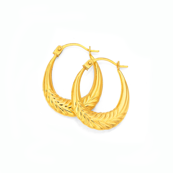 9ct Gold 10mm Oval Creole Earrings