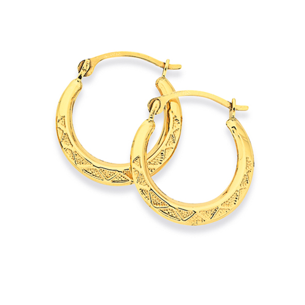 9ct Gold 10mm Patterned Creole Earrings