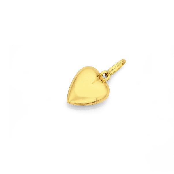 9ct Gold 11mm Puff Heart Charm