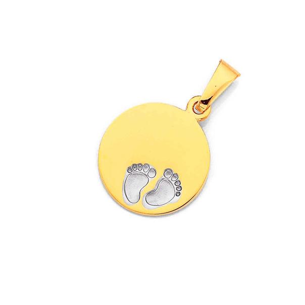 9ct Gold 12mm Baby Feet Disc Pendant