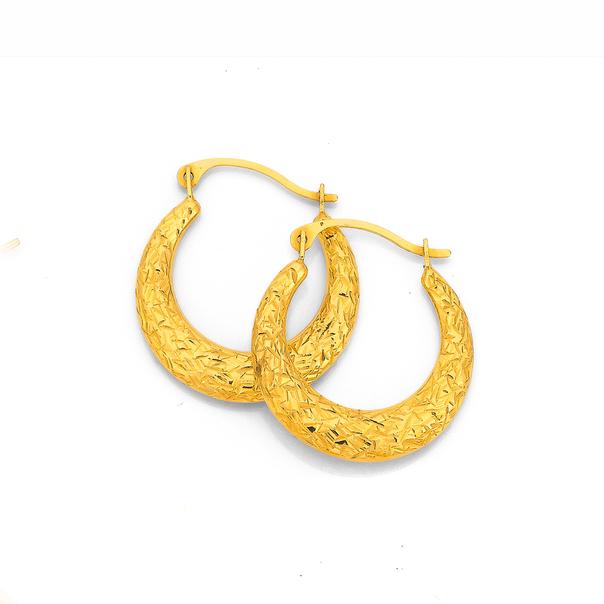 9ct Gold 12mm Diamond-cut Puff Creole Earrings