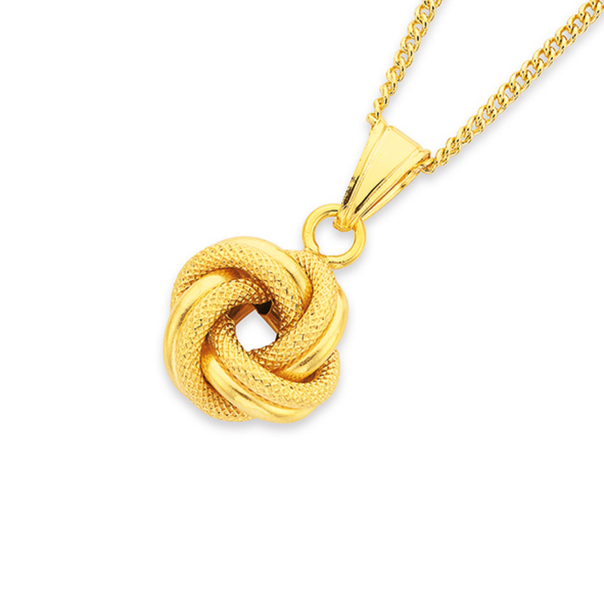 9ct Gold 12mm Knot Pendant
