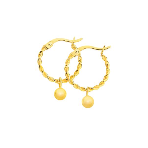 9ct Gold 12mm Twist Hoop Earrings