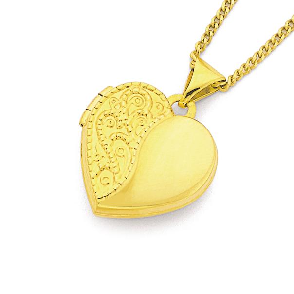 9ct Gold 15mm Engraved Heart Locket