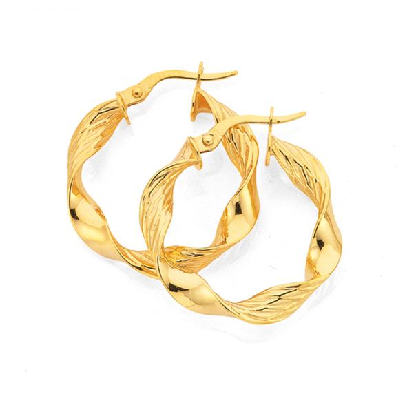 9ct Gold 15mm Ribbon Twist Hoop Earrings