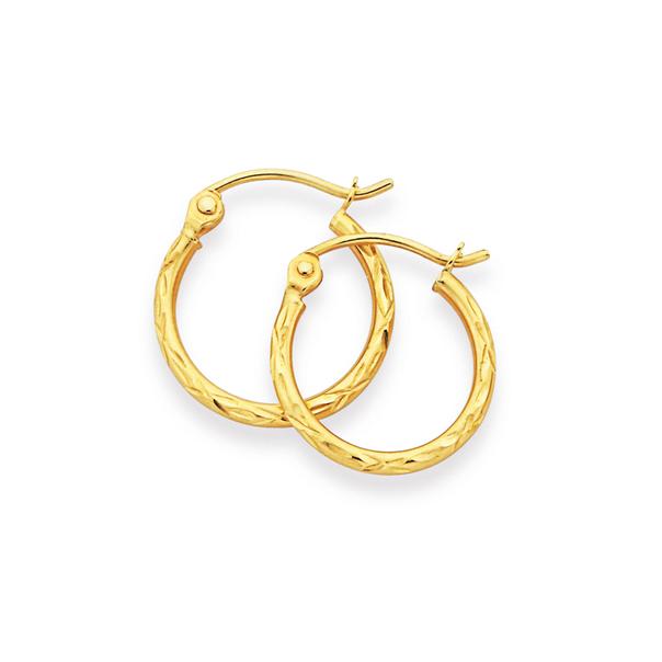 9ct Gold 1.5x10mm Diamond-cut Hoop Earrings