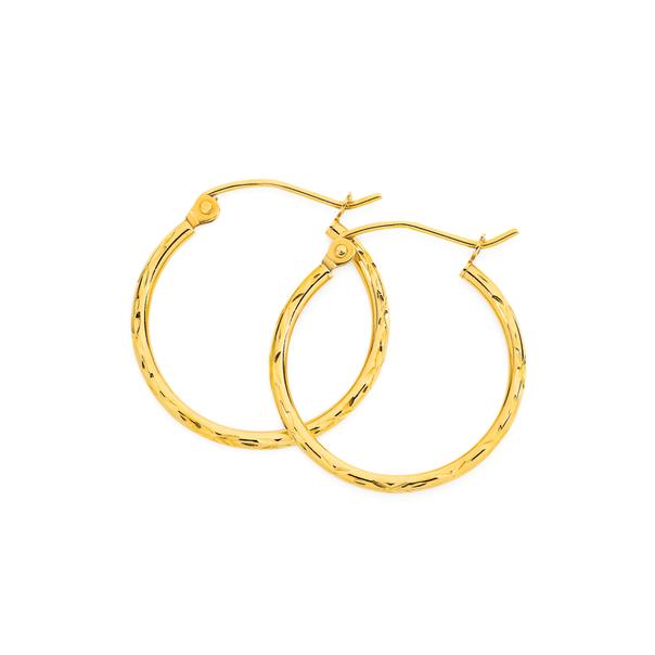 9ct Gold 1.5x15mm Diamond-cut Hoop Earrings